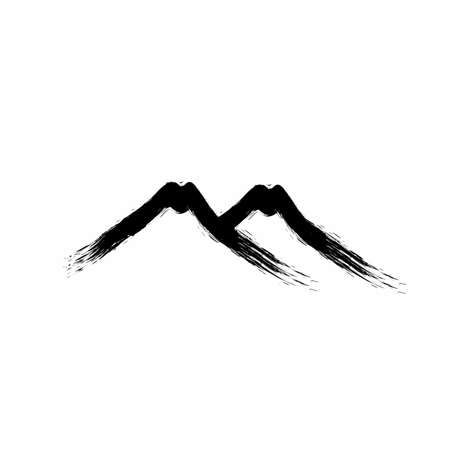 two mountain grudge paint brush ink art vector logo and icon