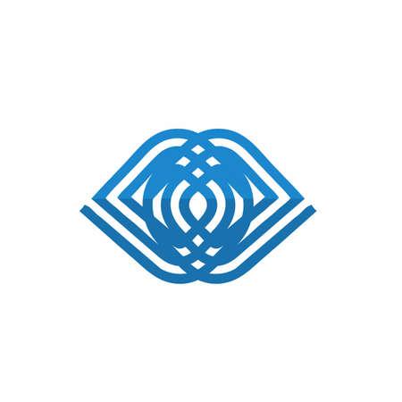 DD, DOD eye initials circle logo and vector icon