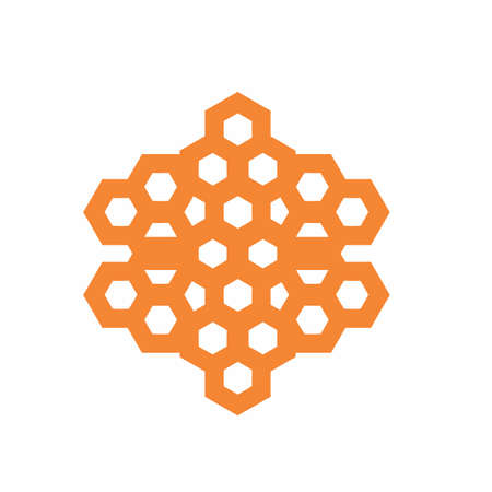 orange honeycomb bee hive shape pattern vector logo and background