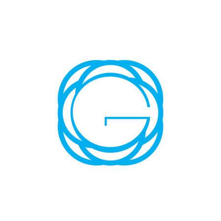 G, GO, OG, global G network initials geometric  and vector icon 矢量图像