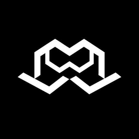 MWJ, LMW, JMW, MW, WM, WWM initials geometric  and vector icon