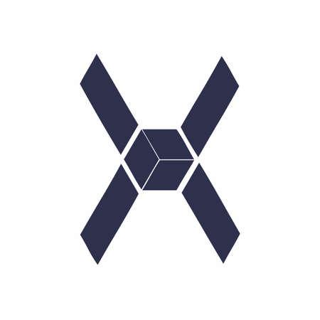 X, OX, XO initials geometric  and vector icon 矢量图像