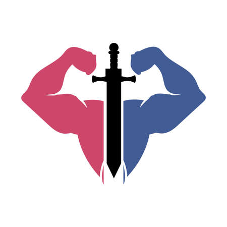 fitness gym body forming like gladiator logo and vector icon