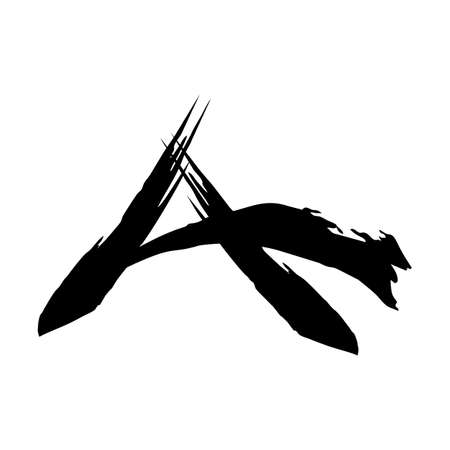 A, AC initials calligraphy with japan style ink art logo and icon