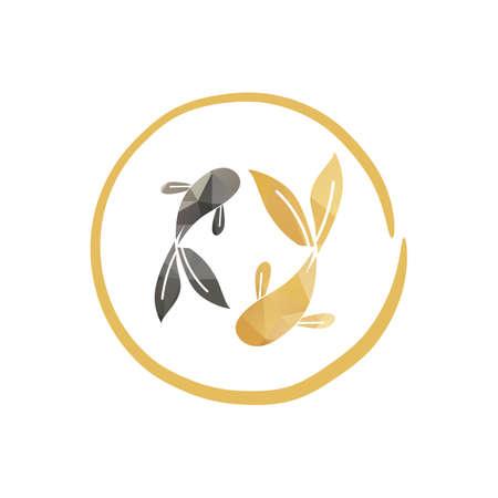 couple of polygonal golden fish or koi fish logo and icon illustration