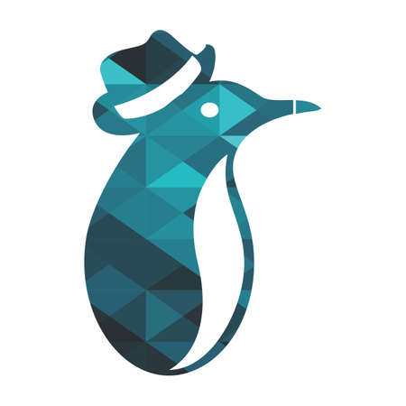 hat penguin logo and vector in 3D blue diamond style illustration 矢量图像