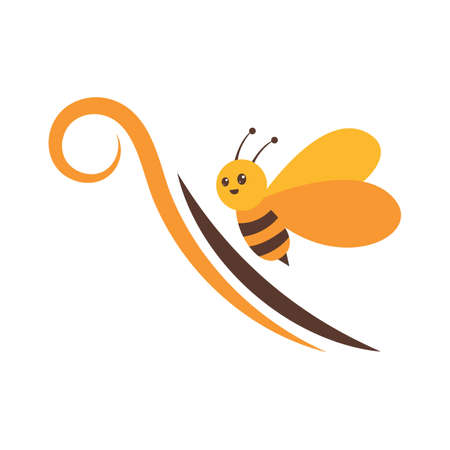 play full flying bee logo and vector icon 矢量图像