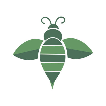 green bee agricultural logo and vector icon
