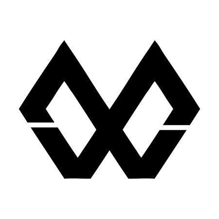 MW, WM, MXW, WXM initial geometric company logo and vector icon 矢量图像