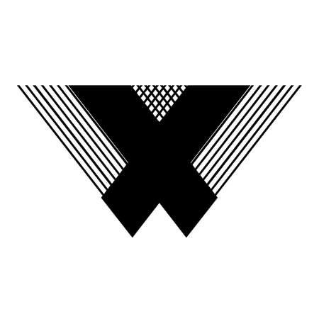 X, WX, XW initial geometric company logo and vector icon