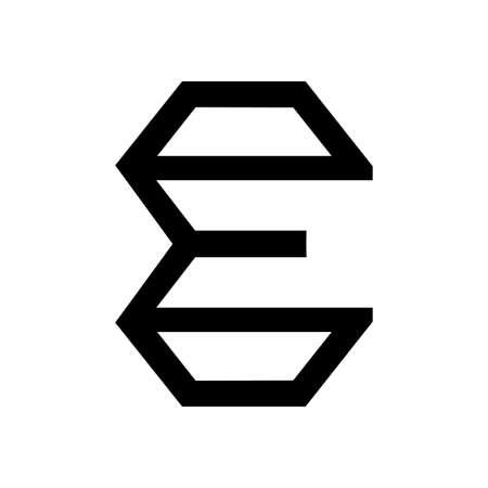 E initials geometric line art logo and vector icon