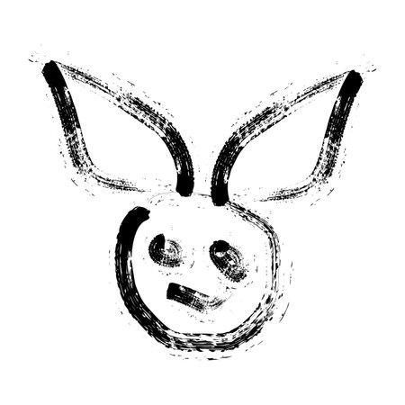 rabbit killer ink art logo and vector