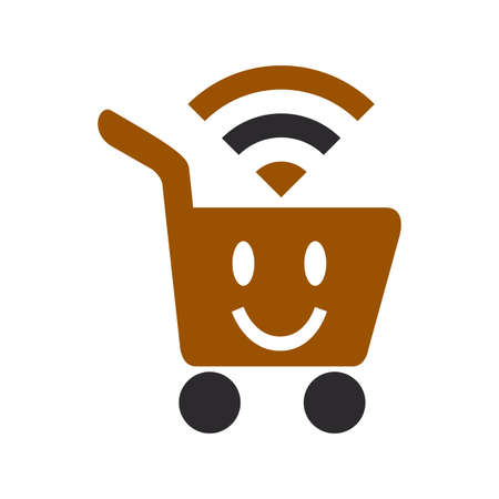 e commerce funny WiFI basket logo and vector icon