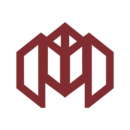 M, MO initials geometric line art logo and vector icon