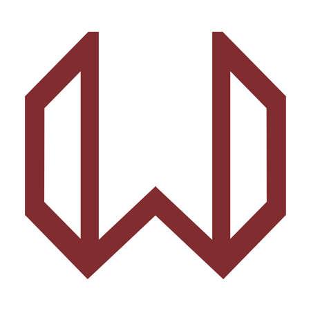 W initials geometric line art logo and vector icon 矢量图像