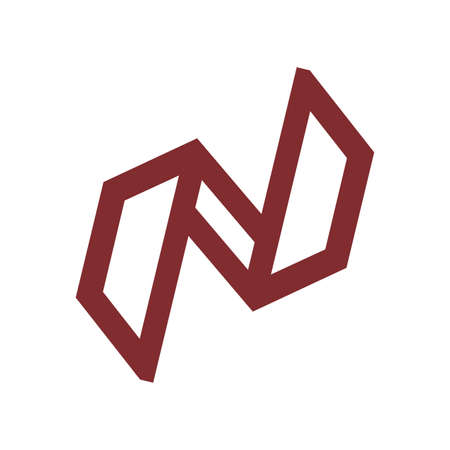 N initials geometric line art logo and vector icon