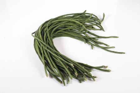 Yard long bean isolated on the white background.