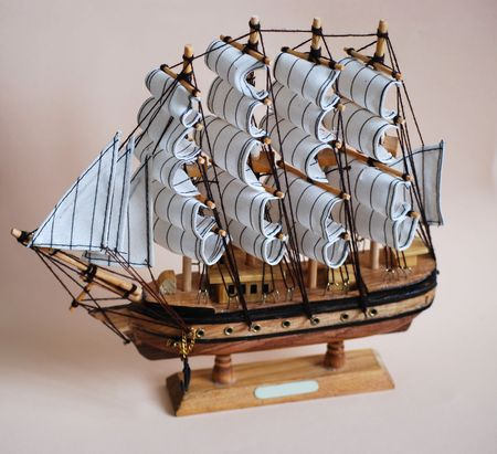 sailling: model of the old ship Stock Photo