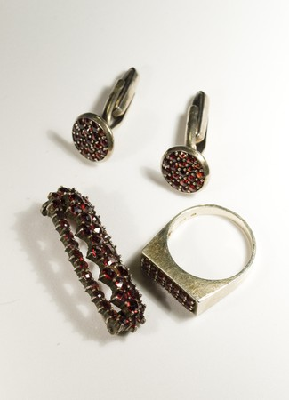 garnets: antique jewellry made of czech garnets