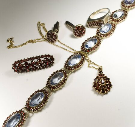 buttom: antique jewellry made of czech garnets