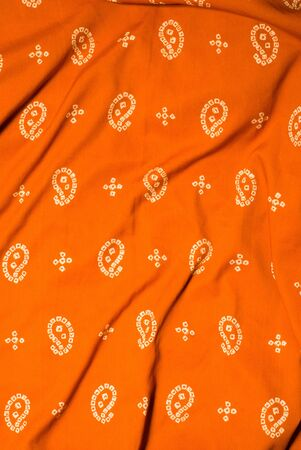 orange indian fabric photo