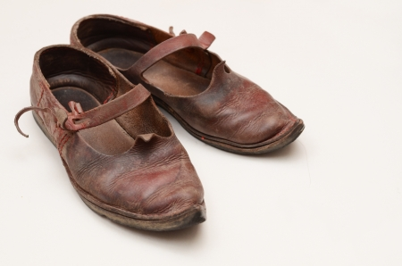 pointy: dirty historical shoes Stock Photo