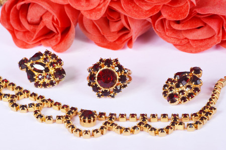 czech garnets jewelry set photo