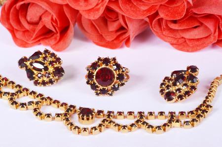 garnets: czech garnets jewelry set Stock Photo