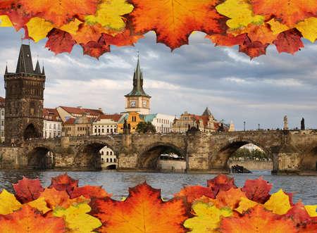 Prague in autumn concept photo