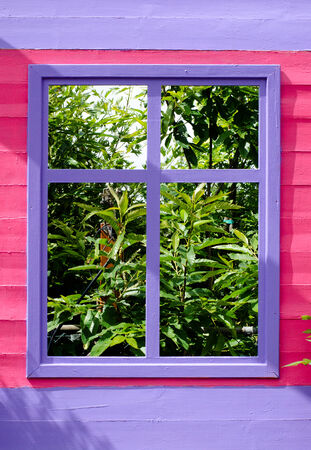 vibrant cottage: window Stock Photo