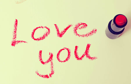 love you: lipstick message Stock Photo