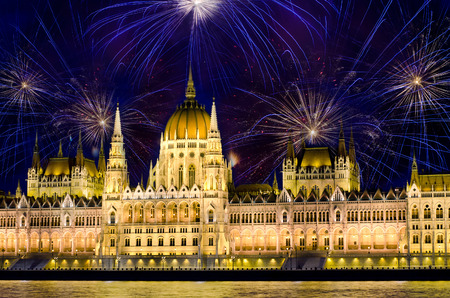 christmas lights display: Fireworks and Hungarian parliament, Budapest Stock Photo
