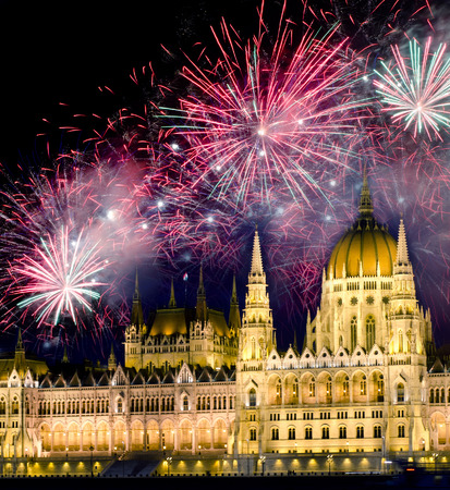 Fireworks and Hungarian parliament, Budapest photo