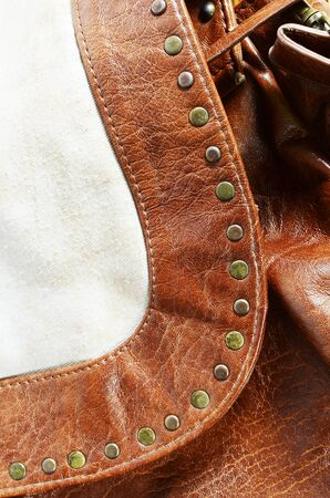leather bag: leather bag detail Stock Photo