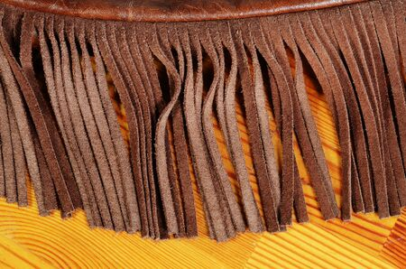 fringes: leather bag detail Stock Photo