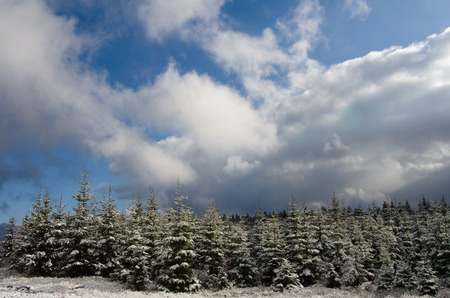 sudetes: winter landscape with cloudy blue sky Stock Photo
