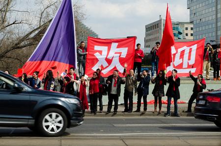arrives: Prague, Czech republic - March, 28th 2016: Chinese President Xi Jinping arrives in Prague