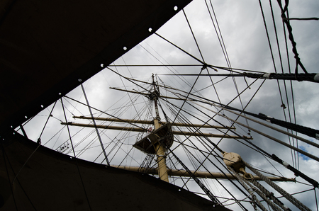 mast: tall ship mast and ropes Stock Photo