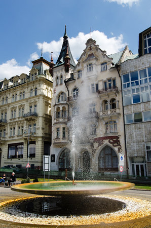 thermal spring: Karlovy vary, Czech republic - May, 26th 2016: Vridlo, the biggest mineral thermal spring in Karlovy Vary, Czech republic Editorial