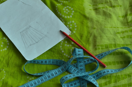 centimetres: sewing skirt Stock Photo