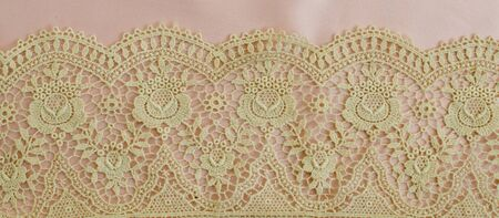 pink satin: floral lace on pink satin