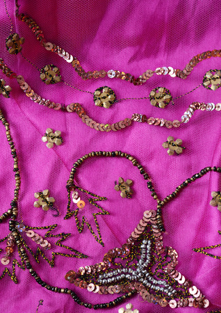pink indian fabric Stock Photo