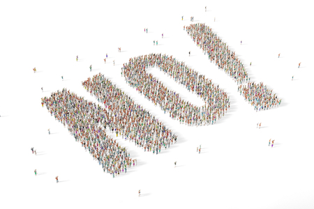 Large and diverse group of people gathered together in the shape of the word no