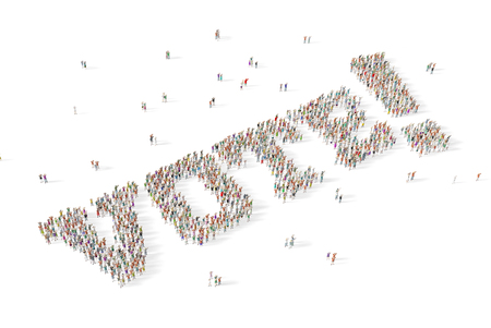 Large and diverse group of people gathered together in the shape of the word vote