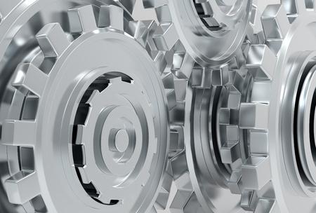 illustrated: Gear metal wheels mechanism 3d illustrated