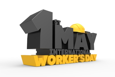 1 May Labor day. International worker's day. 3D illustrating