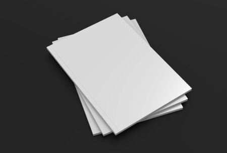Magazine or brochure mock up on dark gray background. 3d illustrated