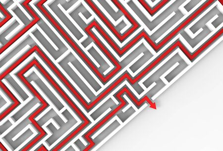 3d illustrated maze isolated on white background. 3D illustrating