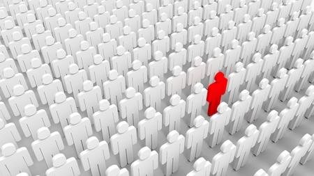 Red man among crowd of white. 3D illustrating Zdjęcie Seryjne