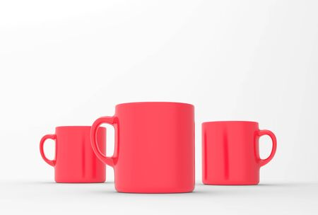 Red mug mock up on soft white background. 3D illustrated Stok Fotoğraf